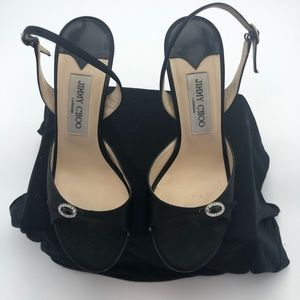 Jimmy Choo sz 38 Black Satin Evening Sandals